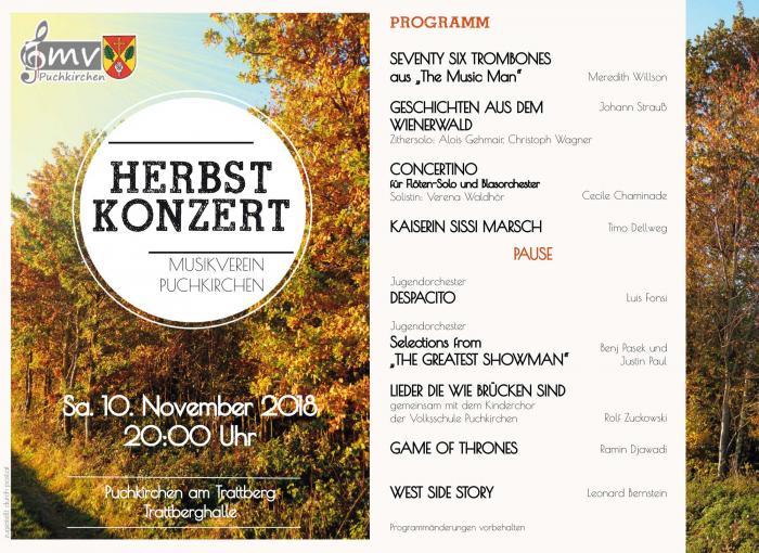 Herbstkonzert Musikverein Puchkirchen